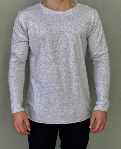 Grey L/S T-Shirt - Raw Hem