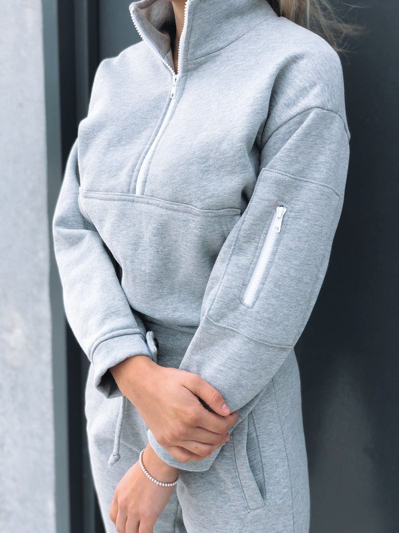 Signature Crop Half Zip - Grey