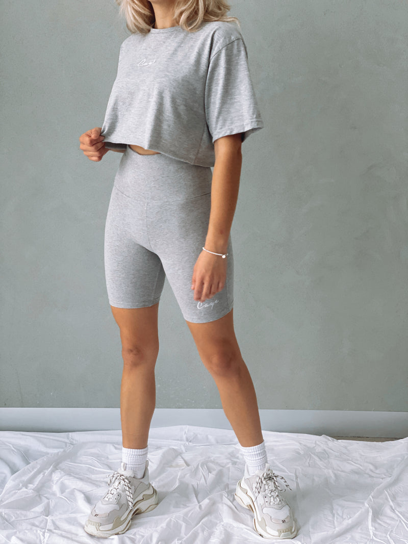 Signature Oversized Crop T-Shirt - Grey