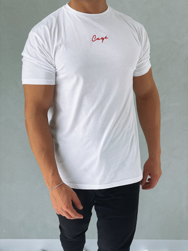 Signature T-Shirt 'Red Line' - White