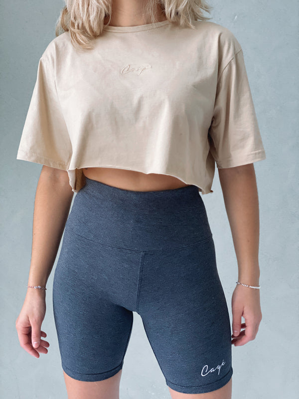 Signature Oversized Crop T-Shirt - Beige