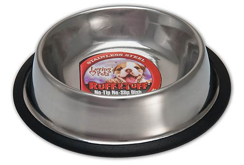 LOVING PETS Ruff N' Tuff® Traditional No-tip Stainless Steel  5 QUART MIRRORED BOWL