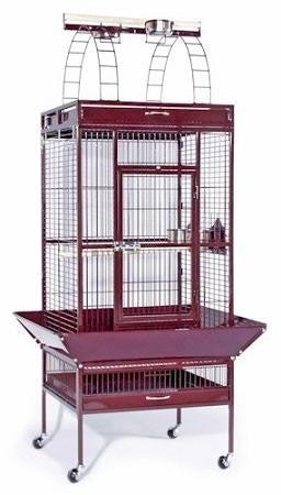 Large Select Wrought Iron Play Top Bird Cage - Chalk White