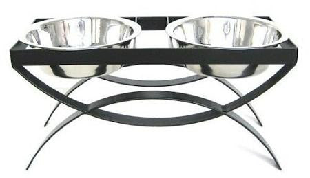 SeeSaw Double Elevated Dog Bowl - Medium-Black