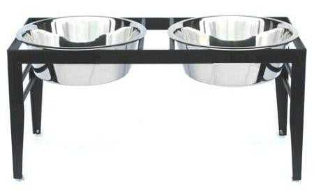 Chariot Double Elevated Dog Bowl - Large-Black