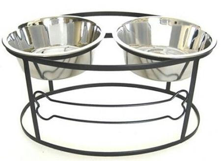 Raised Double Dog Bowl with Bone Design- Large-Black