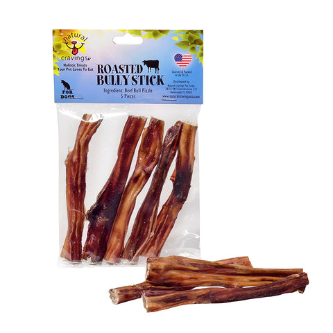 Natural Cravings USA Roasted Bully Sticks for Dogs 5 pack 5 inch Odor Free