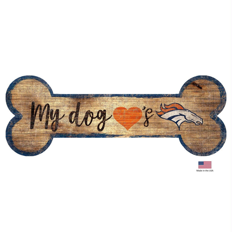 Denver Broncos Distressed Dog Bone Wooden Sign