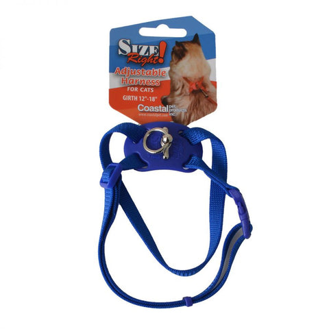 Coastal Pet Size Right Nylon Adjustable Cat Harness - Blue