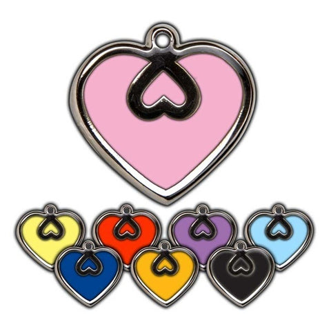 STEEL & ENAMEL ENGRAVED  PET ID TAG - HEART