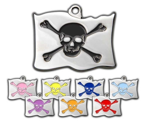 STEEL & ENAMEL ENGRAVED  PET ID TAG - PIRATE FLAG