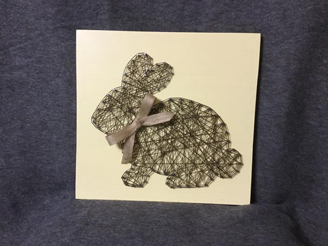 Bunny in Burlap String Art
