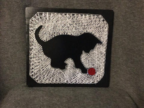 Kitten with Ball of Yarn String Art
