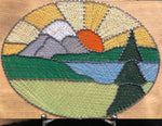 Mountain sunset stained glass