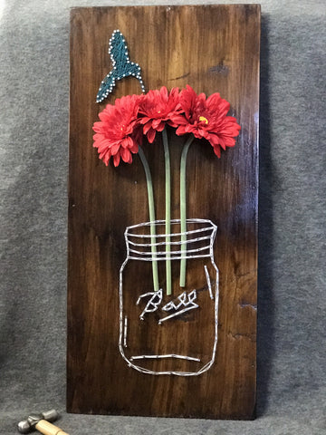 Ball jar with Hummingbird String Art