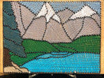 Mountain lake stained glass gray