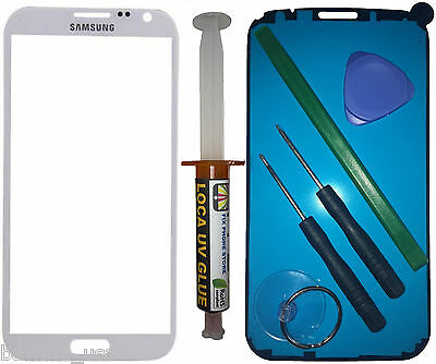 White Screen Outer Glass Lens Cover Samsung Galaxy Note2 II N7100 Tools Loca UV - Fix Phone Store