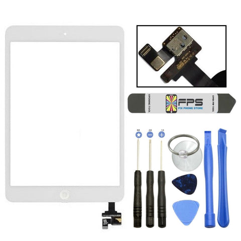 iPad mini 1 2 Touch Digitizer Screen + IC Connector Home Button Assembly (White) - Fix Phone Store
