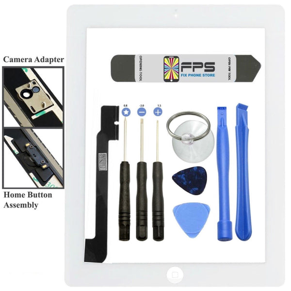 Front Panel Touch Screen Glass Digitizer + Home Button Assembly for iPad 4 White - Fix Phone Store
