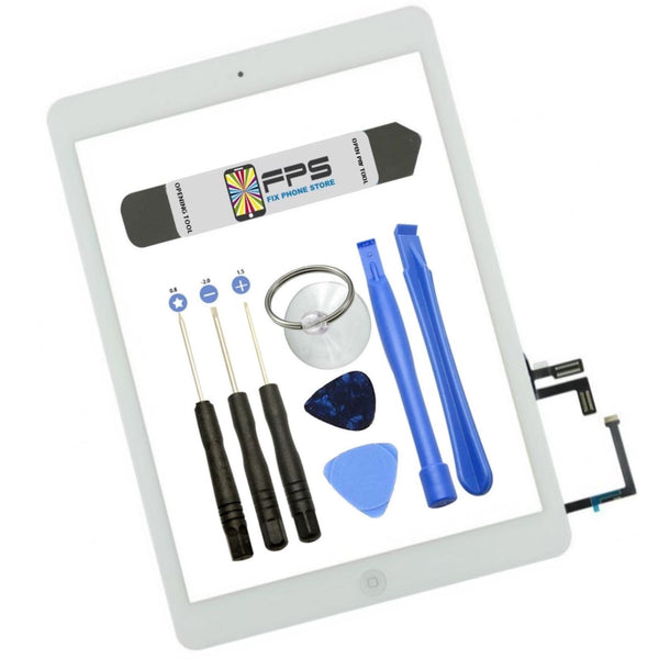 Touch Digitizer Screen + Home Button Flex + Adhesive Assembly iPad Air 1 (White) - Fix Phone Store