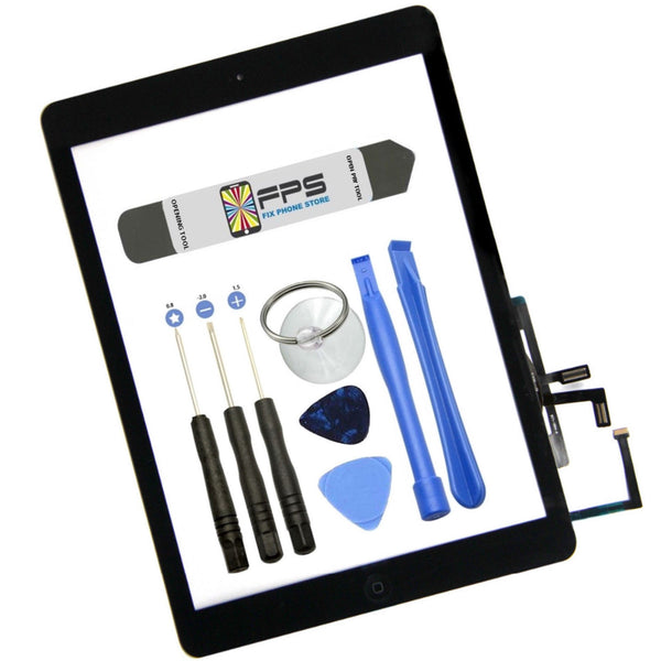 Touch Digitizer Screen + Home Button Flex + Adhesive Assembly iPad Air 1 (Black) - Fix Phone Store