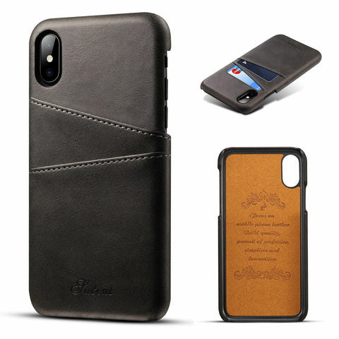 For iPhone XS Max XR X 7 8 PLUS Leather Wallet Card Slot Holder Back Cover Case - Fix Phone Store