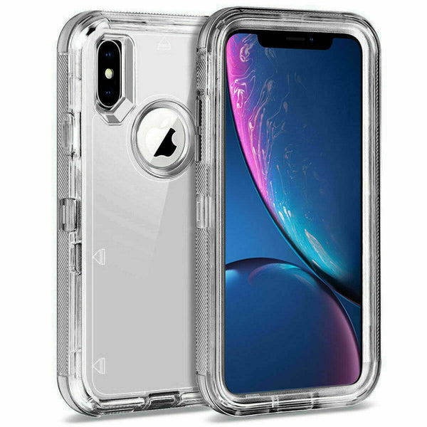 Clear Defender Case For iPhone 6 7 8 Plus 6s X XR XS Max Heavy Duty Shockproof - Fix Phone Store