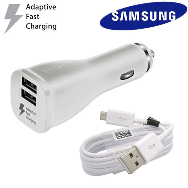 Samsung Adaptive Dual Car Charger for Galaxy with USB Cable Type C White color - Fix Phone Store