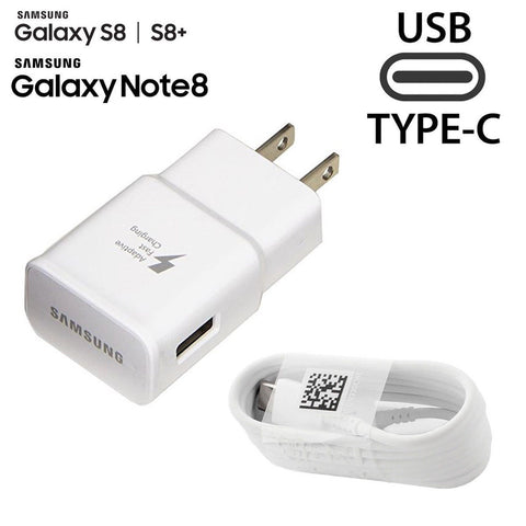 Samsung Adaptive Fast Travel Wall Charger for Galaxy S8 S9 Plus Note 8 w/ USB Cable Type C White Color - Fix Phone Store