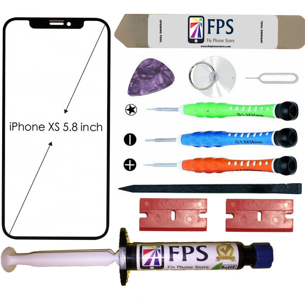 iPhone XS Glass Screen Repair Replacement KIT + Tools + Loca UV Glue 5ml. - Fix Phone Store