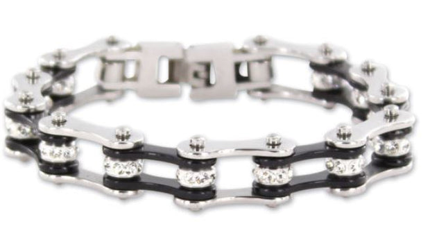 SportBike Chic Motorcycle Chain Link Bracelet - Black and Silver - SportBike Chic