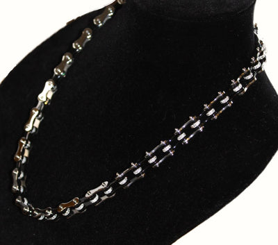 SportBike Chic Motorcycle Chain Link Necklace - Black and Silver - SportBike Chic