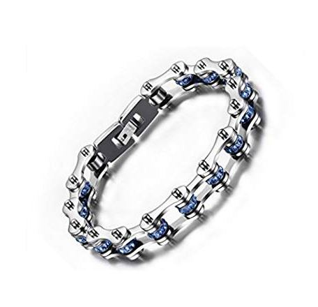 SportBike Chic Motorcycle Chain Link Bracelet - Silver and Blue - SportBike Chic