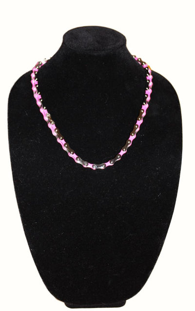 SportBike Chic Motorcycle Chain Link Necklace - Pink and Silver - SportBike Chic