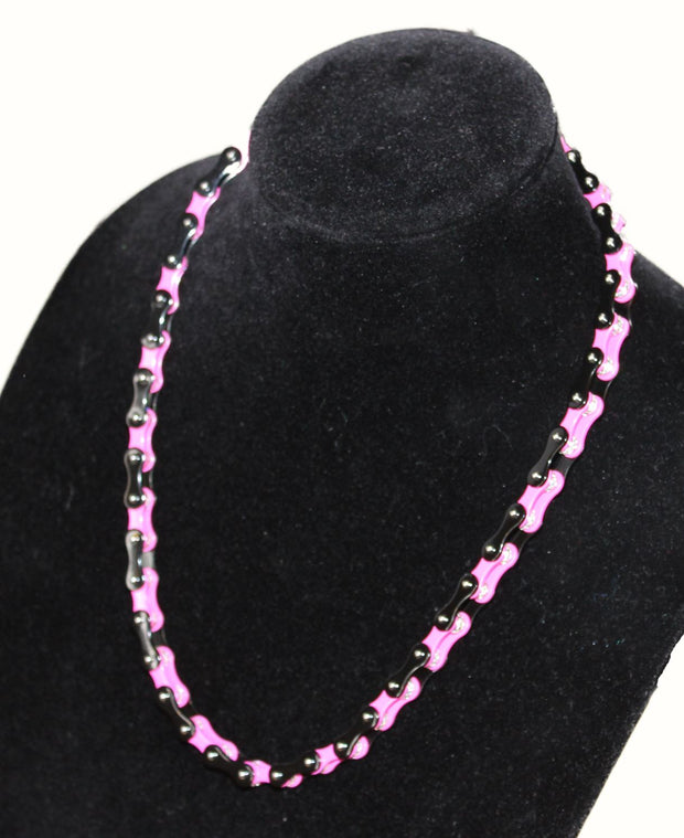 SportBike Chic Motorcycle Chain Link Necklace - Pink and Black - SportBike Chic