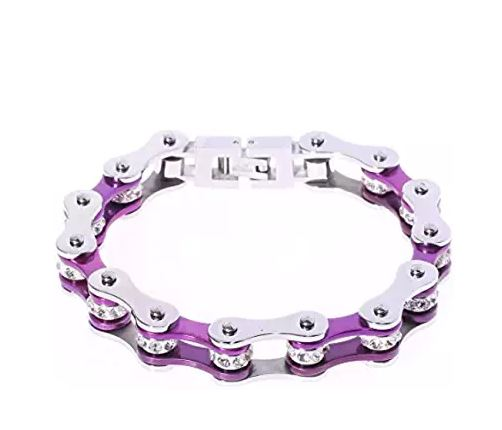 SportBike Chic Motorcycle Chain Link Bracelet - Purple and Silver - SportBike Chic