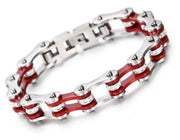 SportBike Chic Motorcycle Chain Link Bracelet - Red and Silver - SportBike Chic