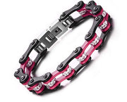 SportBike Chic Motorcycle Chain Link Bracelet - Pink and Black - SportBike Chic