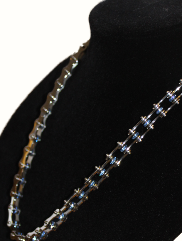 SportBike Chic Motorcycle Chain Link Necklace - Silver and Blue - SportBike Chic
