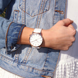 White rose leather timepiece