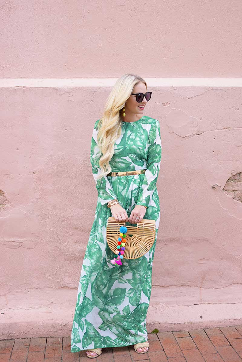 modest long dress with long sleeves in green leaf prints