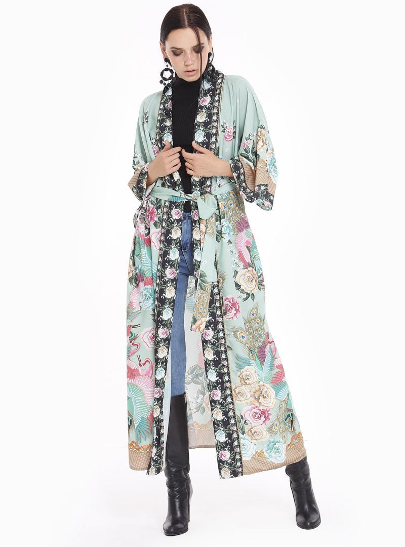 modest green floral kimono with open front, long sleeves and sash