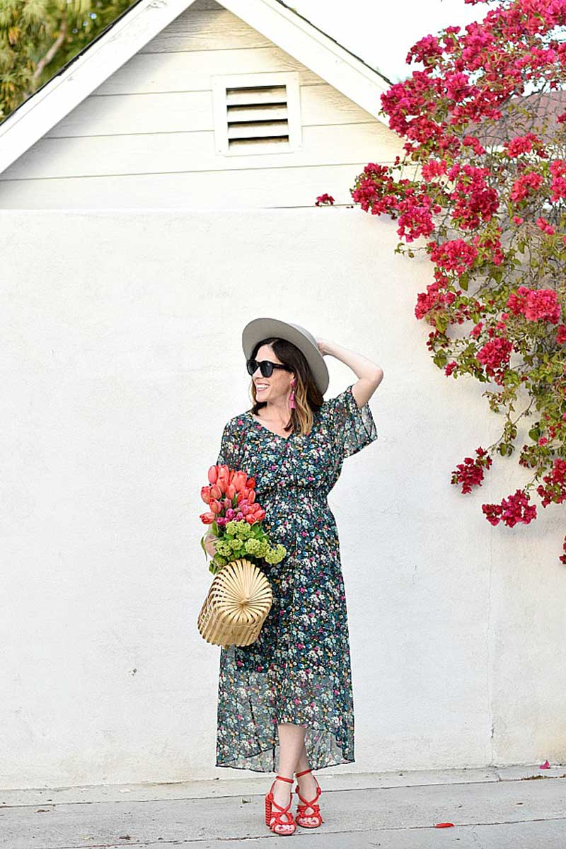 modest long floral maxi dress loose fitting with sleeves