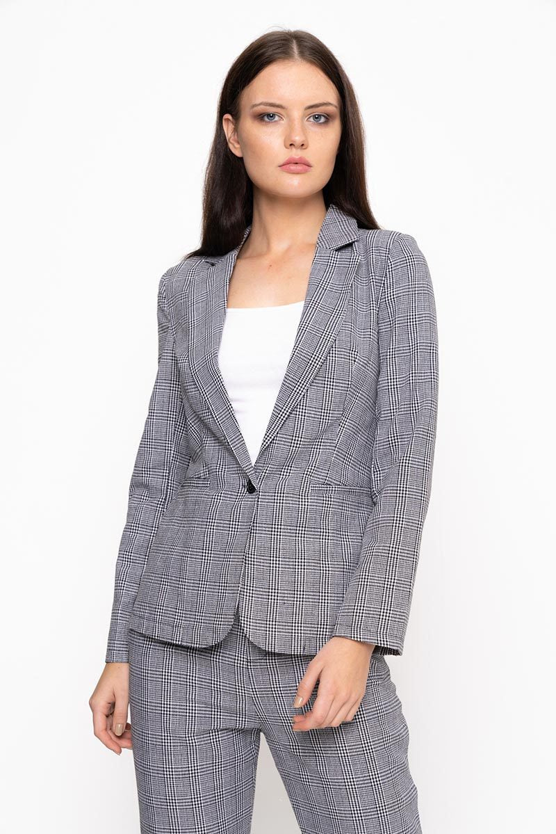 modest matching grey co-ord suit loose fitting blazer