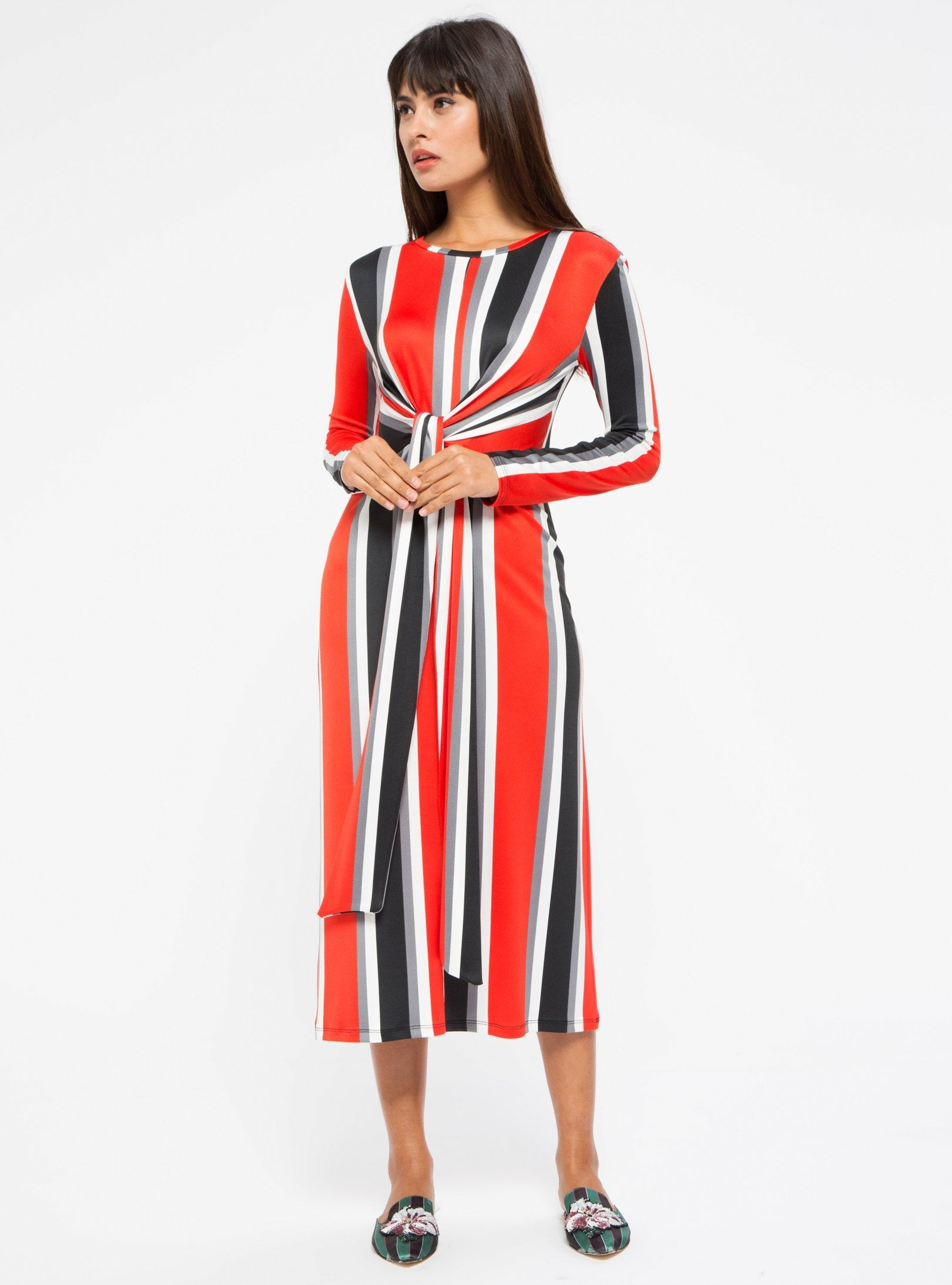 modest long red midi dress with prints and patterns