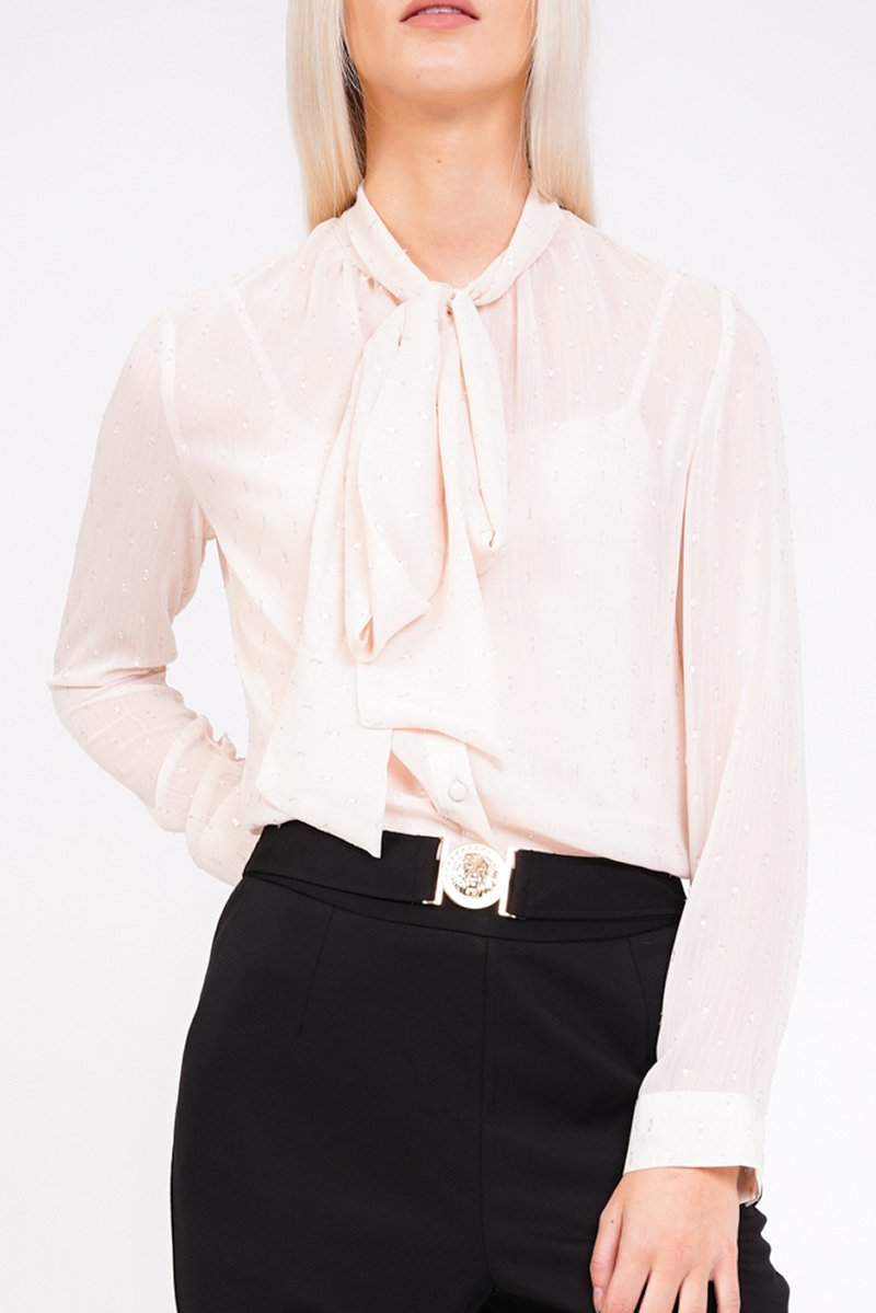 modest loose fitting blouse with tie around neck