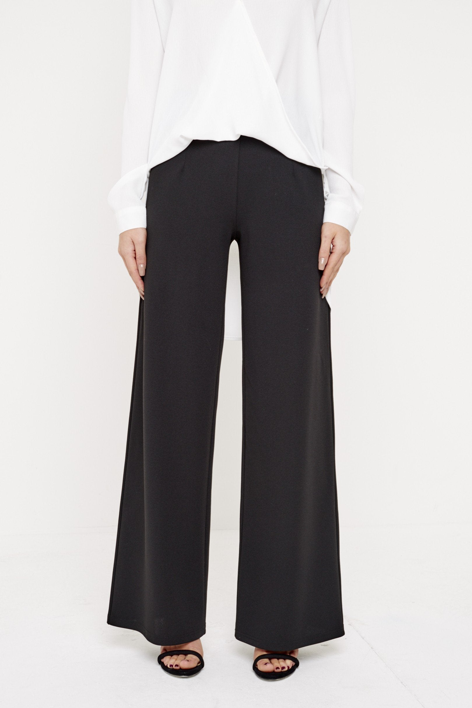 modest wide leg trousers loose fit