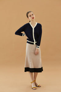 YUPPE Color Cardigan in Navy Modest Loose Fitting Cardigan with Front Buttons and White Trim