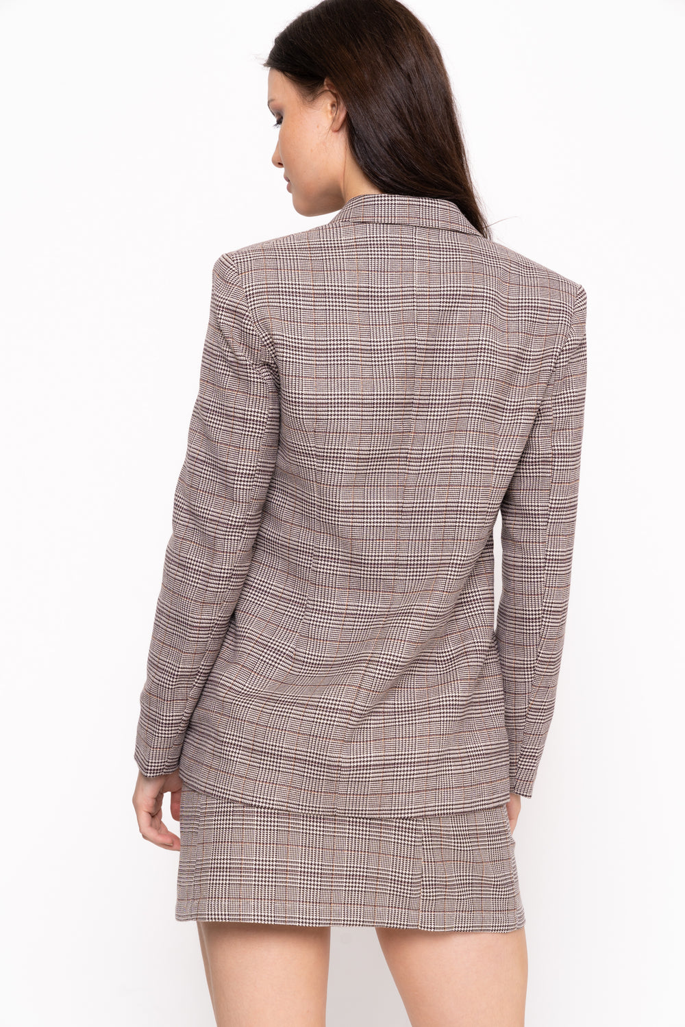 Unique 21 Brown Check Double Breasted Blazer Modest Loose Fitting Women Checkered Jacket with Front Buttons