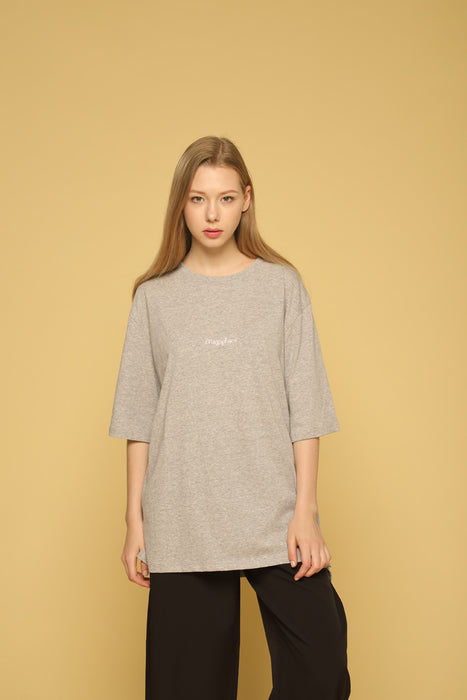 MEGAPHONE Basic T-shirt in Grey Modest Loose Fitting and Long Oversized Grey T-shirt in Cotton